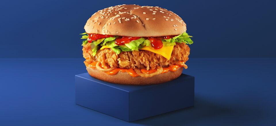 Бургер КФС на синем фоне